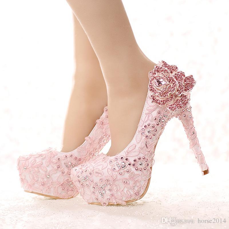 531407131c Ramarim Calçados Moda Rosa Sapatos De Noiva De Rendas Strass Rosa Flor De  Salto Alto Sapatos De Casamento Plataforma Rodada Toe Princesa Bombas  Sapatos De ...