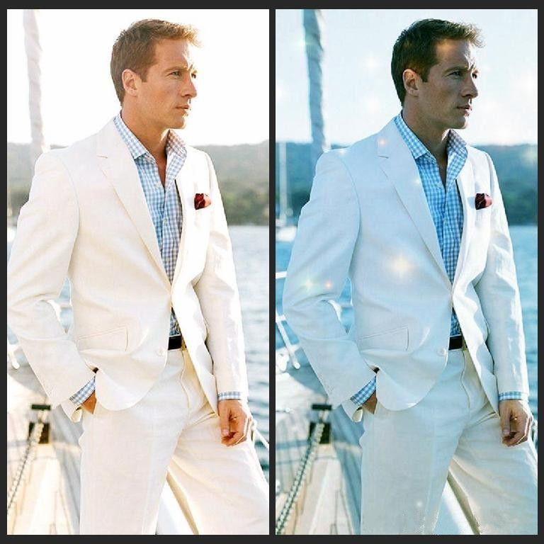 2017 White Linen Blazer Custom Made Linen Suit Sharp Look Tailored ...