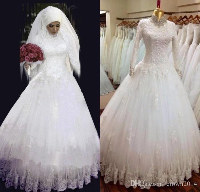 Arabic Hijab Muslim Wedding Dresses With Long Sleeves High Neck