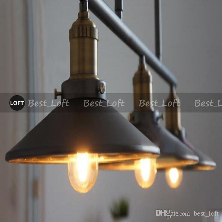 3 Têtes Vintage De Fer RH Loft Industriel LED Poulet De Poulie Country Américain Lampes À Fil Réglable Rétractable Bar Éclairage avec miroir