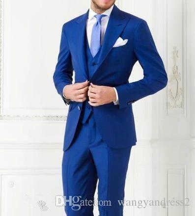Neue stil Maßgeschneiderte Blau Hochzeit Anzüge Bräutigam Smoking Slim Fit Anzug Formelle Anzüge Hochzeit Tragen Groomsman anzüge jacke + Pants + Weste