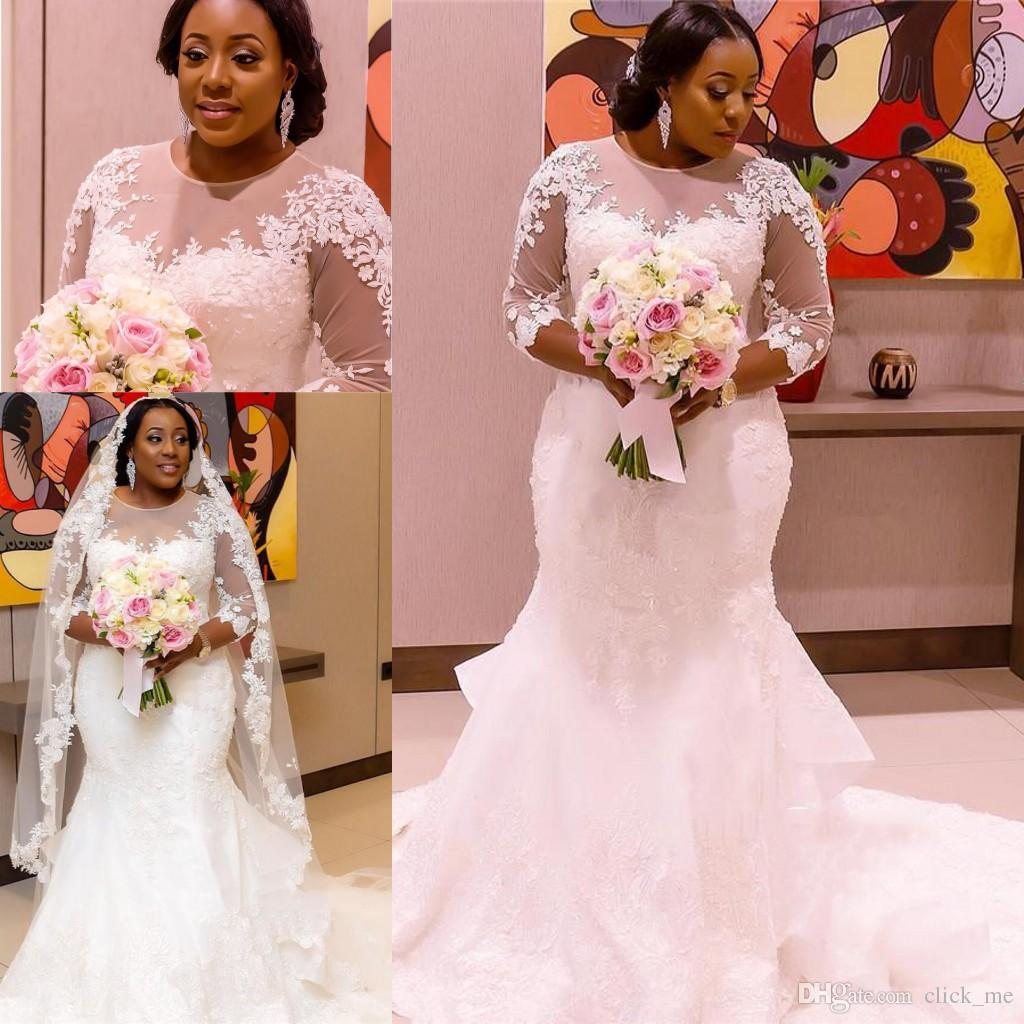 African Plus Size Wedding Dresses Jewel Sheer Neck 3/4 Long Sleeves Wedding Gowns Lace Appliques Back Covered Button Mermaid Bridal Dress