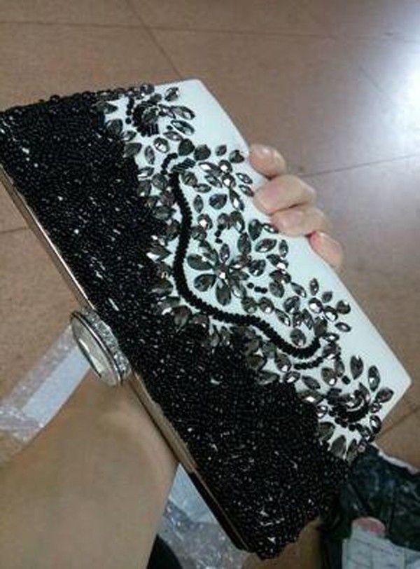 Blanco y Negro Impresionantes Bolsos de Noche Cristales Partido de Noche Con Cuentas Hecho A Mano Novia de Boda Embrague Bolsos de Hombro de Alta Calidad