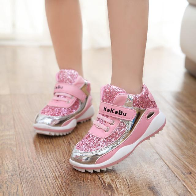 Acquista Ragazze Scarpe Sportive Scarpe Da Ginnastica Bambini Ragazze Pu  Gomma Antiurto Zapatillas Deportivas Walking Running Scarpe Da Donna  Negozio ... 3d3ec03b984