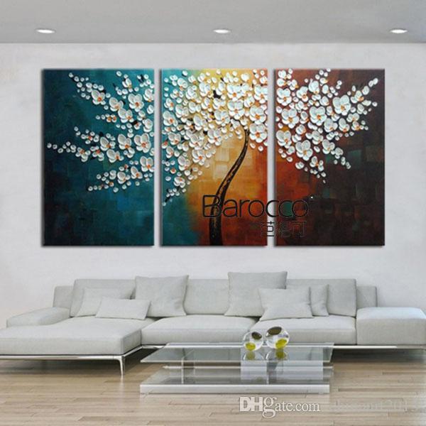 Счастливые белые цветы дерево 3 шт. ручная роспись палитра kinfe пейзаж картина маслом на холсте современный дом украшения стены