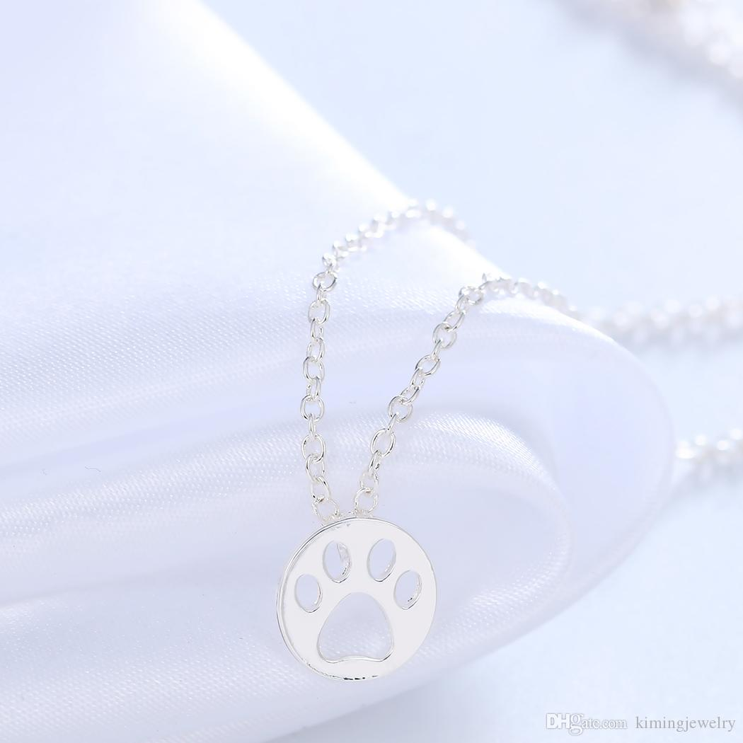 Hot Creative Dog Paw Print Dye Cut Coin Shaped Animal Necklace Best Pendant Minimalist Jewelry Gift for Girls and Women