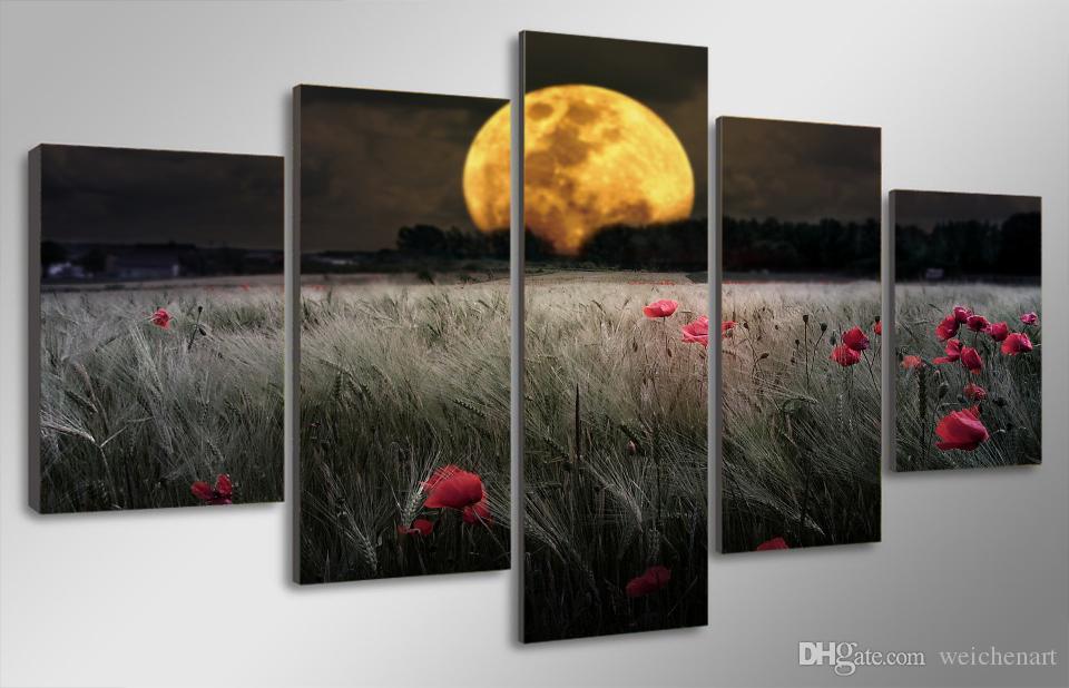 5 Paneli HD Baskılı Moonlight Çiçek Kanvas Odası Dekor Poster Resim Tuval Modern Wall Art Boyama Baskı Baskı Boyama