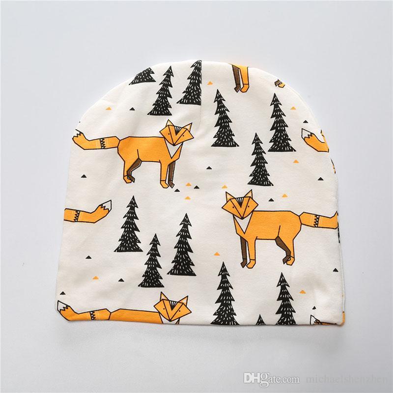 Ücretsiz DHL 18 Stil çocuk Noel INS arıtılmış pamuk şapkalar bebek Erkek kız moda karikatür ins fox panda kaplan şerit B001 caps