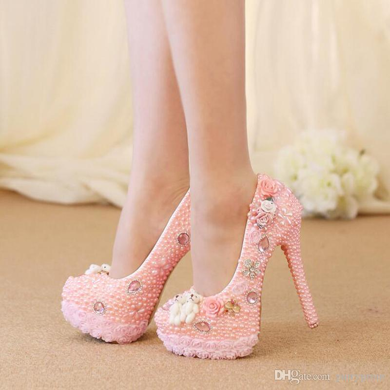Wedding High Heel Shoes Gorgeous Design Crystal Bridal Dress Shoes Pink Color Pearl Lace Flower Platform Birthday Party Pumps