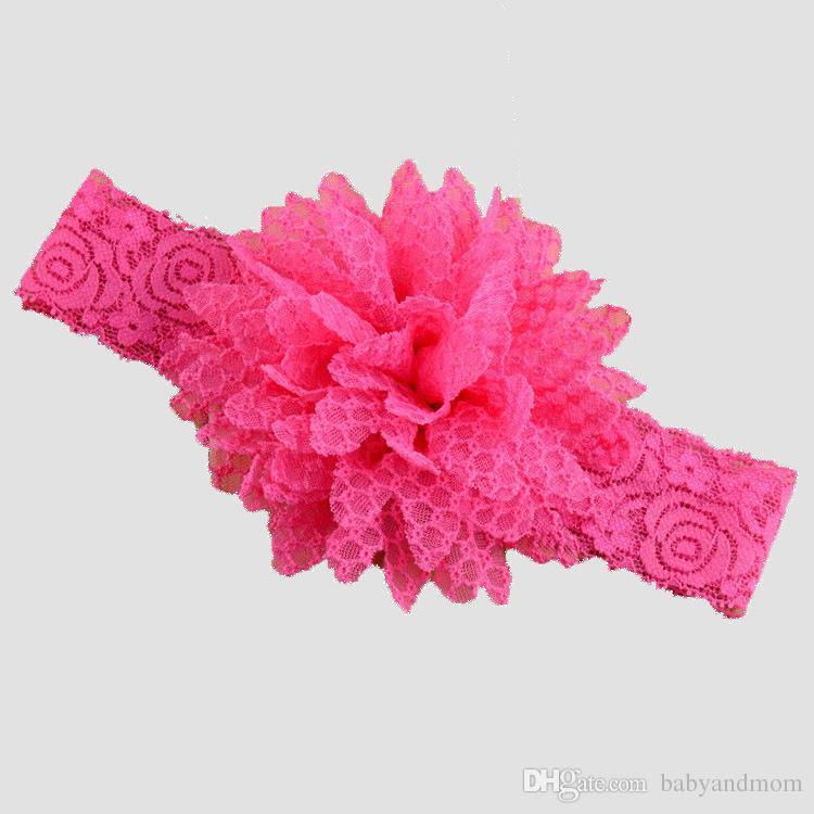 14 cores Elastic Lace Headbands Crianças Acessórios Para o Cabelo Crianças Flor Headband Do Cabelo Coisas Do Bebê Acessórios Para o Cabelo Para Crianças acessórios