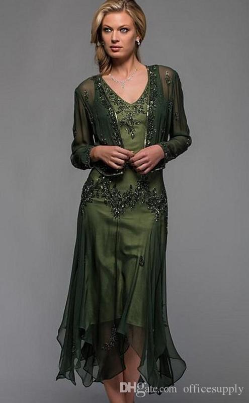 Langarm Mutter der Brautkleider mit Wrap Perlen V-Ausschnitt Chiffon Mutter Formale Abendkleid Tee Länge