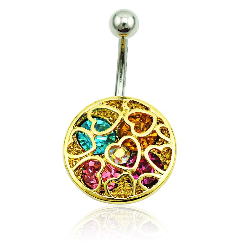 Gold Plated Belly Button Rings 316l Stainless Steel Pierced Multicolor Rhinestone Heart Navel Rings Hypoallergenic Piercing Jewelry