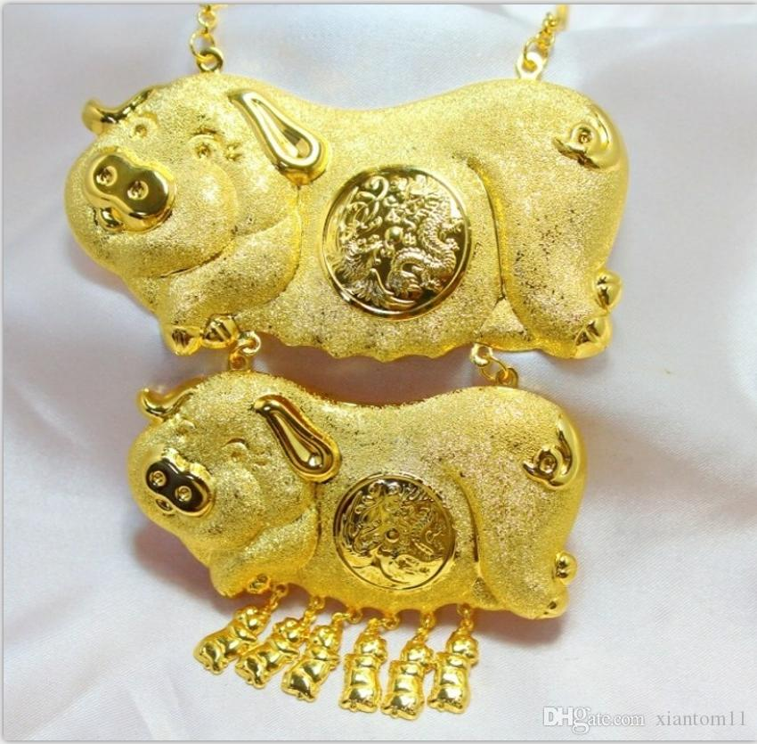 Wholesale double pig gold necklace bride wedding jewelry diamond wholesale double pig gold necklace bride wedding jewelry diamond pendants necklaces round pendant necklace from xiantom11 18794 dhgate mozeypictures Gallery