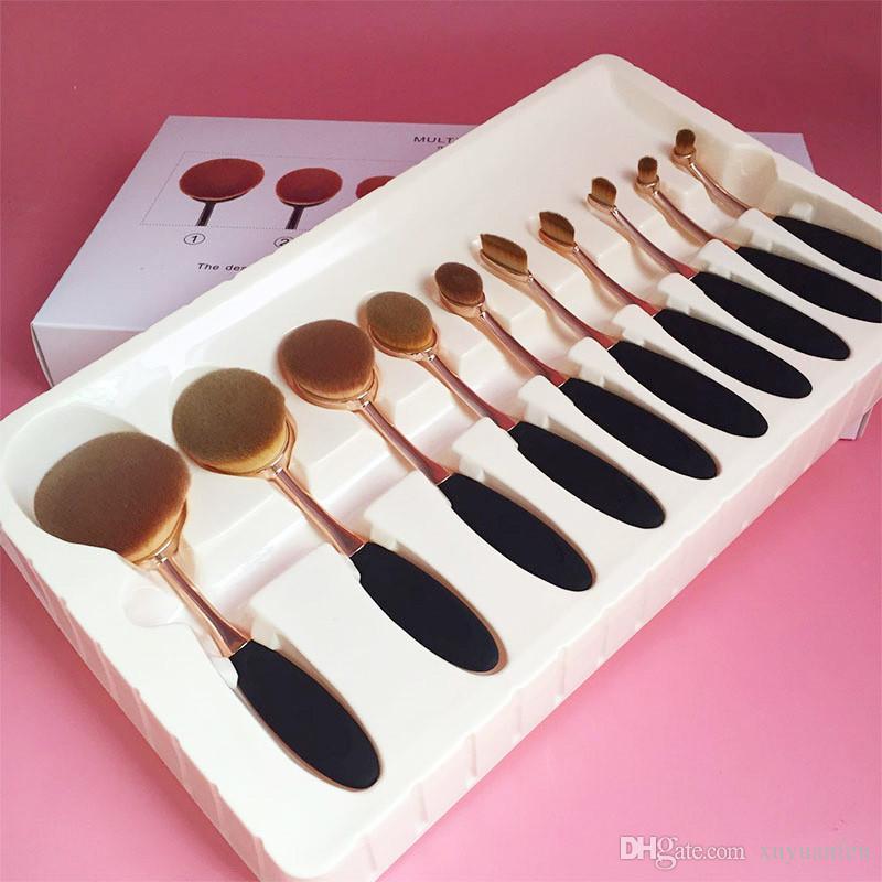 Maquillage Professionnel Pinceaux Or Ovale Maquillage Pinceau Visage Poudre Fondation Cosmétiques Pinceau Outils