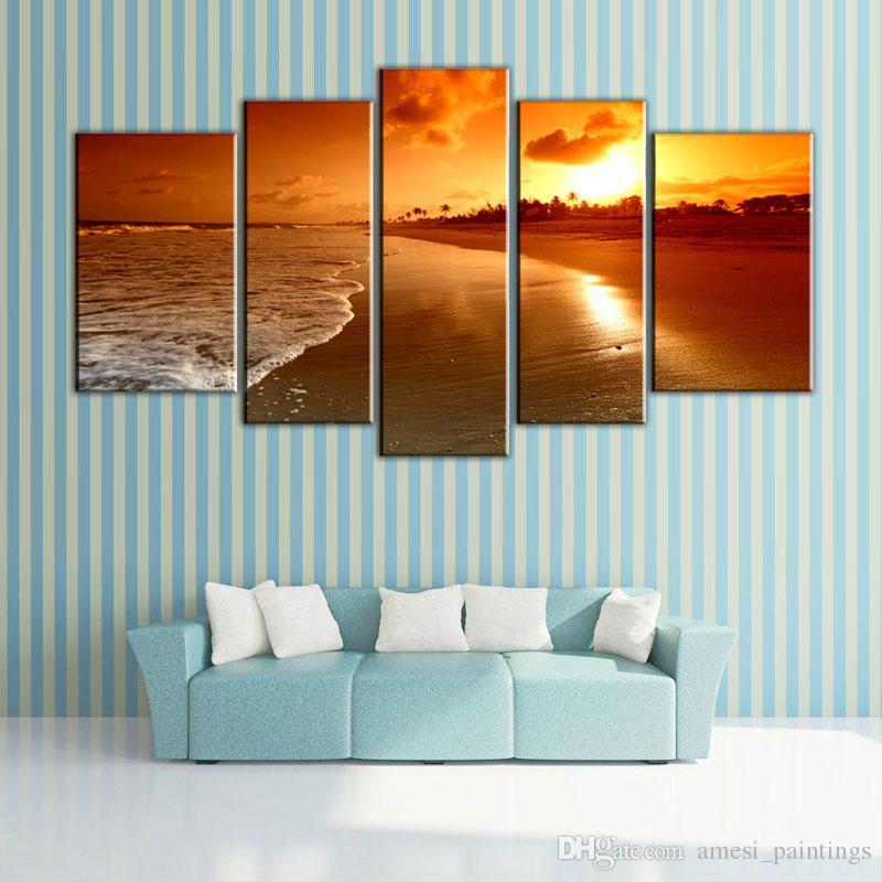 5 Bild CombinatioNatural Sea Sunrise Landschaftsbilder Leinwand Öldruck Schöne Einfache Dekoration Wand Landschaftsbilder für Haus