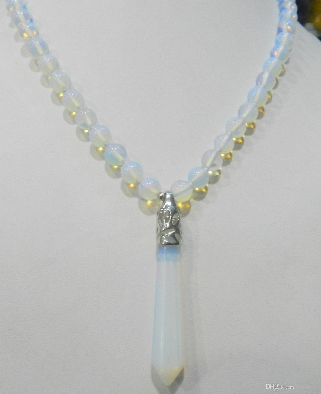 wish rose opalite pendant product mysticwish teardrop cord mystic necklace
