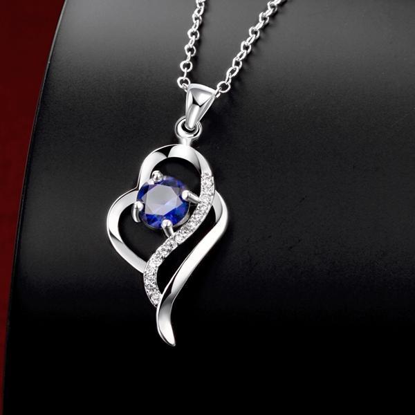 Hot vente en forme de coeur de la mode 925 Pendentif argent Colliers STPN014B, le meilleur collier bijoux en argent sterling de pierres précieuses bleu cadeau