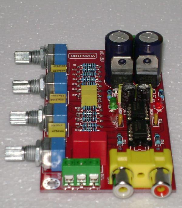 Freeshipping YJ NE5532 preamp board dual 12V-0-12V NE5532 pre mixing board  / pre tone plate Pre-board preamp tone for hifi amplifier