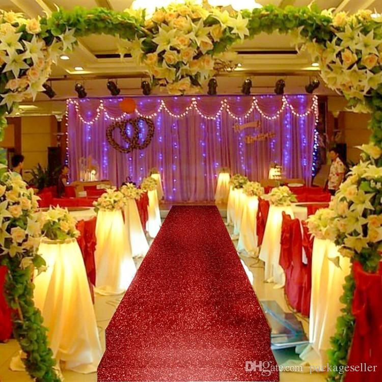 10 M Roll 14m Wide Red Color Pearlescent Wedding Decoration Carpet