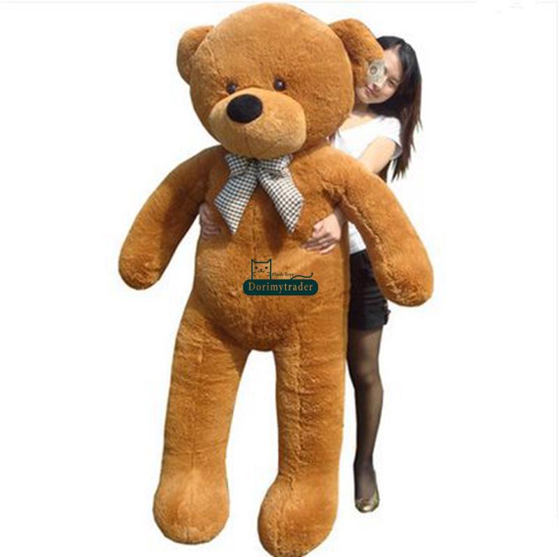 Dorimytrader 5.9 Feet Huge Plush Life Size Brown Bear Doll 180cm Brown Teddy Bear Toy Nice Baby Present DY61048