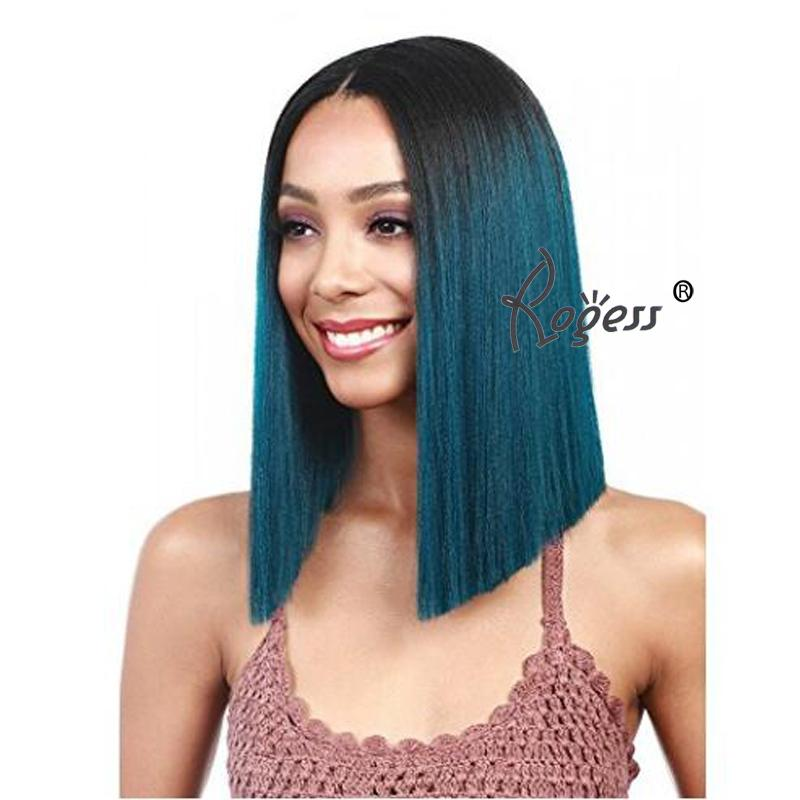 Gute Qualität Kurze gerade Perücke Ombre Farbe Lace Front Premium synthetische Perücke für Frauen
