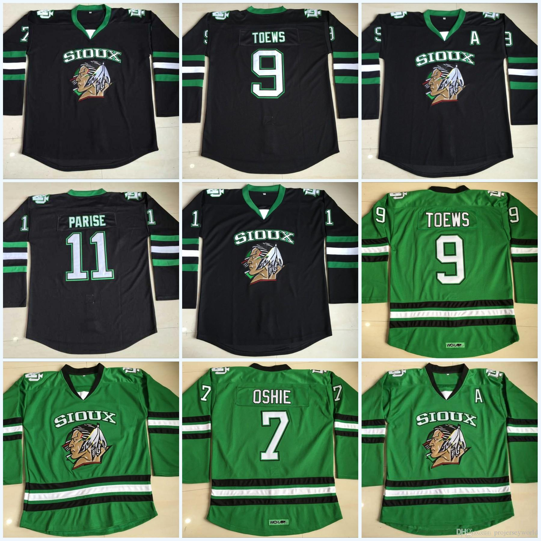 Youth North Dakota Fighting Sioux Hockey Jersey  9 Jonathan Toews  7 TJ  Oshie  11 Zach Parise Blank Green University Jerseys UK 2019 From  Projerseyworld 150f61a50d0