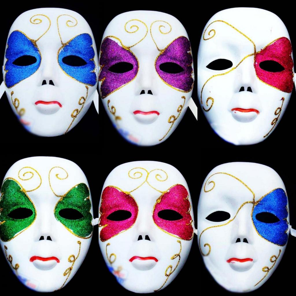 Women Full Face White Painted Venetian Carnival Masks Party ...