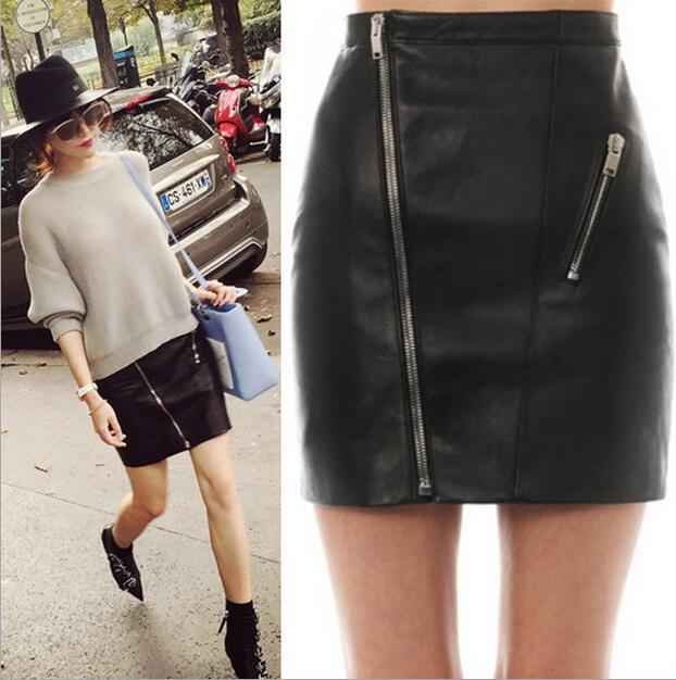 2017 New Sexy Black Leather Skirt Fashion Women Ladies Zipper ...