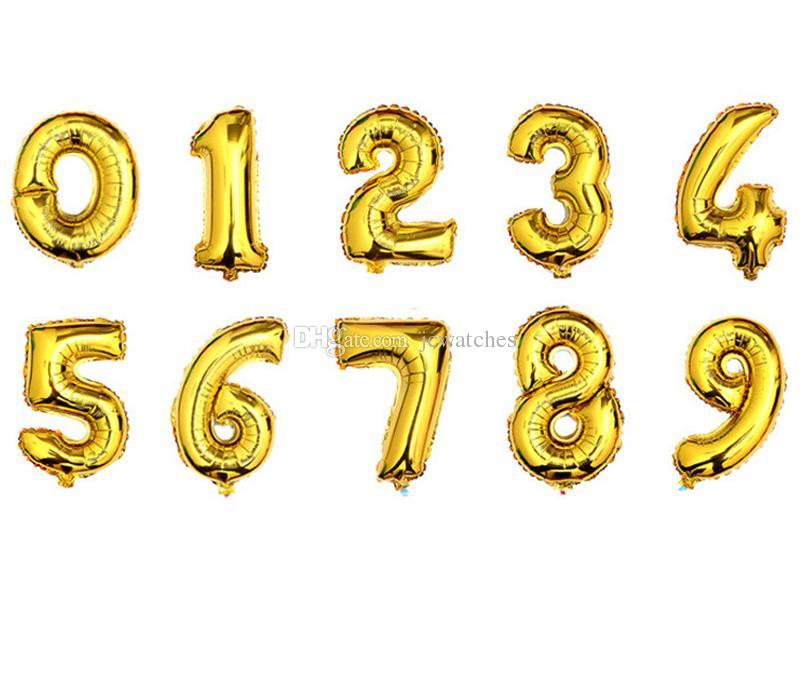 16-дюймовые воздушные шары фольги 0-9 золотые серебряные номера цифры гелия воздушные шарики 2 цвета буквы A до Z алфавит Air Balooks день рождения свадебный декор