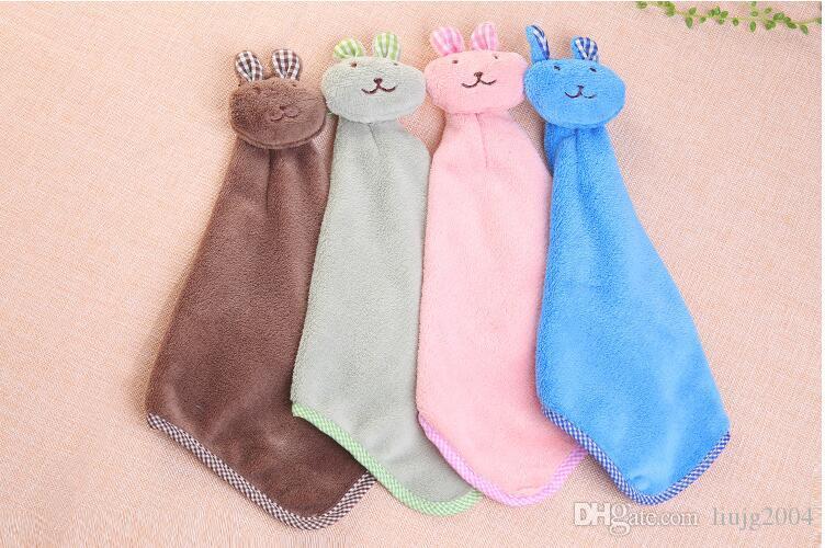 Cute rabbit ovely Cartoon Children Hand Dry Towel For Kids Kitchen Bathroom Kid Soft Plush Fabric Hang Towel For Children Towels