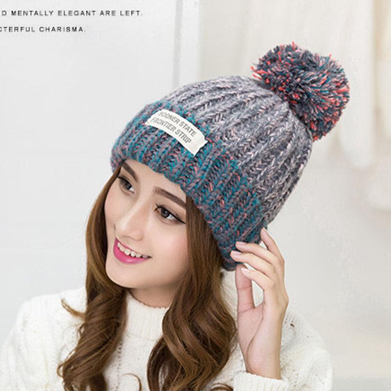 e88924737fd68 Vintage Hats For Women Winter Beanie Knitted Hat Pompons Crochet Curling  Ear Protect Casual Cap Women Beanies Gorras MZ0617 Cap Fedora From  Maluokui