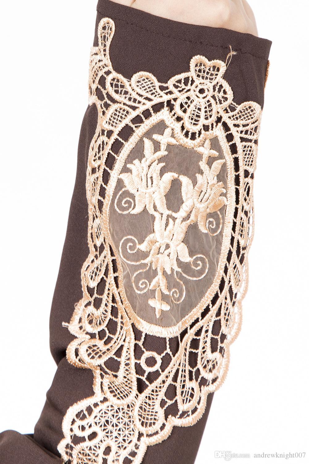 Kadın Müslüman Elbise 3 Renkler Vintage Kaftan Abaya Patchwork Ince Uzun Kollu Yumuşak Maxi İslam DK722MZ Ücretsiz Kargo Dropshipping