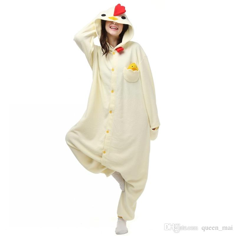243d04a05 New White Cock Cosplay Costumes Anime Animal Onesie For Adults Women Men  Unisex Pajamas Halloween Dress Party Suit Fleece Romper Jumpsuit Best  Halloween ...