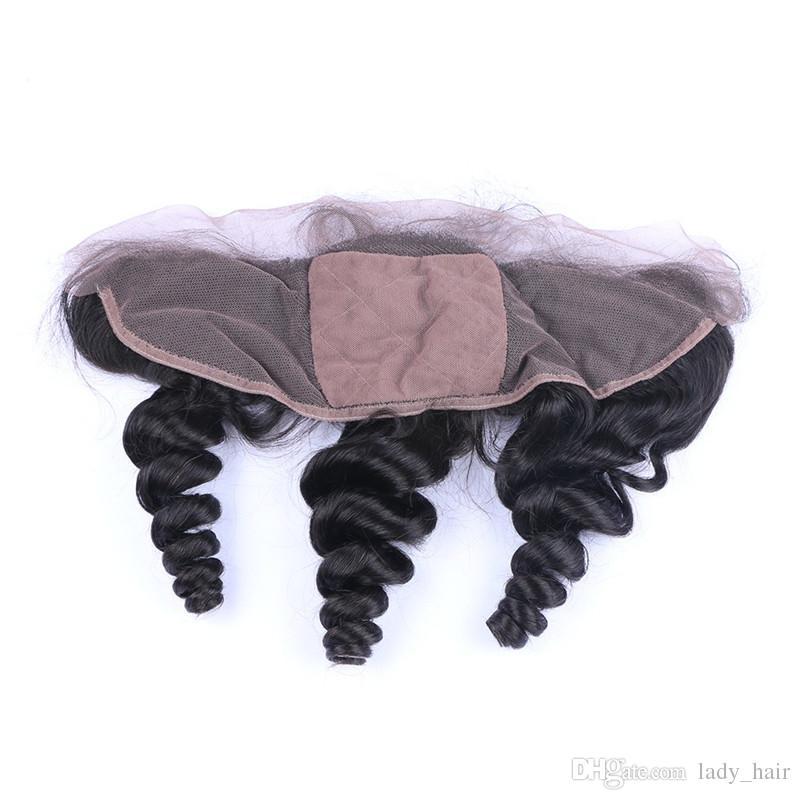 버진 페루 인간의 머리가 느슨한 웨이브 4x4 실크베이스 레이스 정면 폐쇄 버진 레미 헤어 실크 톱 레이스 정면 조각 표백 매듭