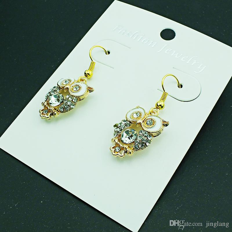 Fashion Charms Earrings Stainless Steel Hooks Dangle Gold Color White Rhinestone Owl Earrings For Women Jewelry