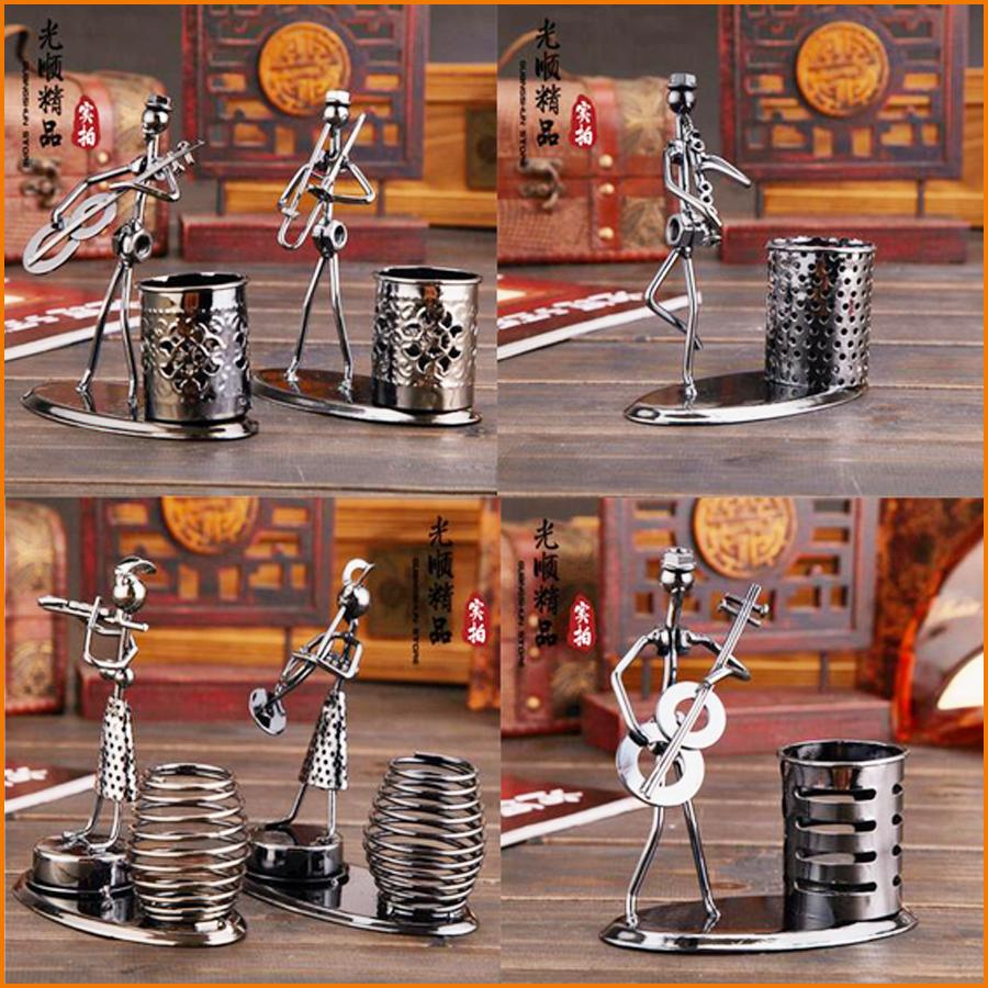 hand made music iron man art steel pen container holder pencil cup