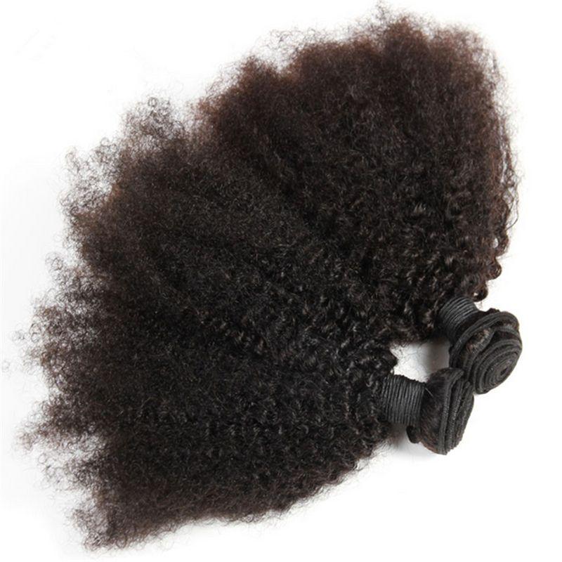 Mongolische 9A Afro verworrenes lockiges Menschenhaar spinnt mit Spitze Schließung / verworrene lockige Spitze Schließung mit Haarverlängerungen für schwarze Frau
