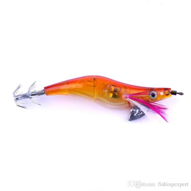 Hot Sale LED 2.5# Squid Jig Fishing Lure 10.5cm 12g Luminous Shrimp Fishing Baits or Plastic Hard Baits of Fishing Gear