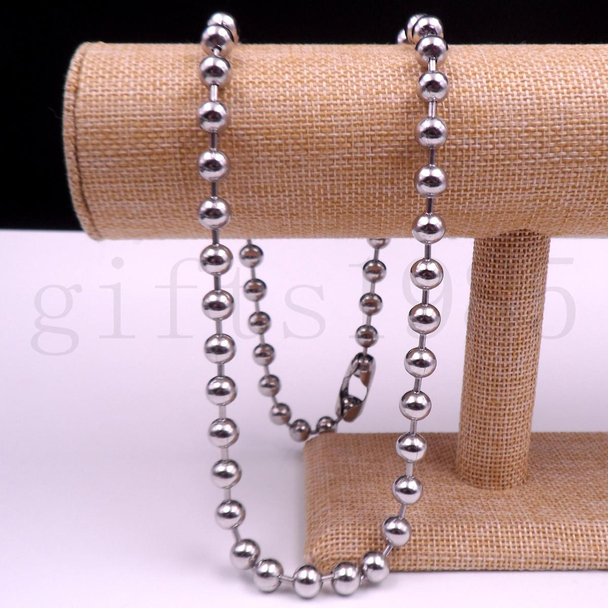 "Fashion Men's Jewelry Stainless Steel Round Beads Balls Chain Necklace 26"" 8mm"
