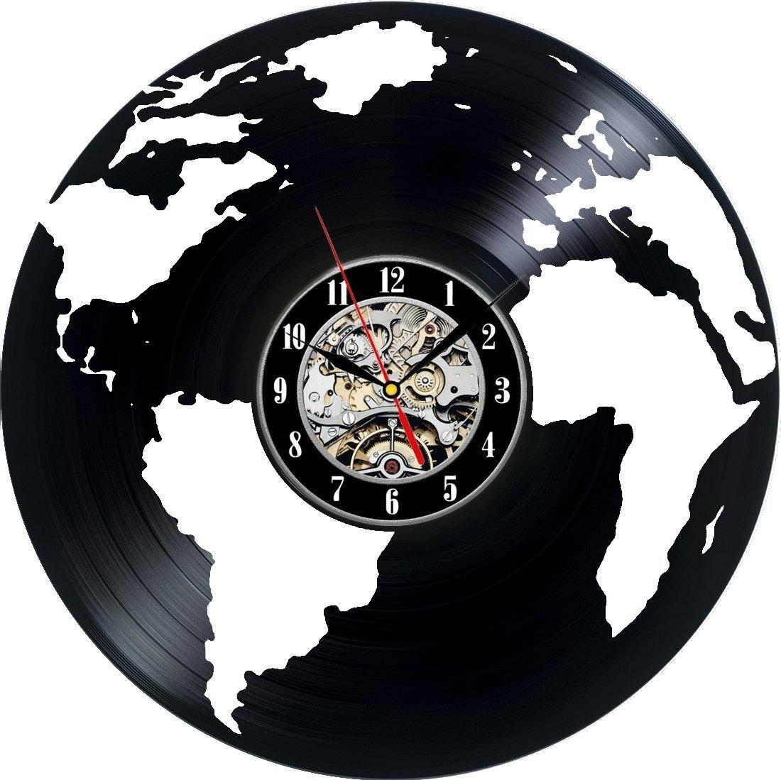 Earth globe map world travel modern decorative vinyl record wall earth globe map world travel modern decorative vinyl record wall clock this clock is a unique gift to your friends and family digital wall clock online gumiabroncs Images
