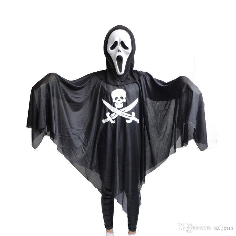 men women skull cloak cotume halloween costume for adult pirate gown robe death cosplay black ghost costume party theme costumes black and white costumes