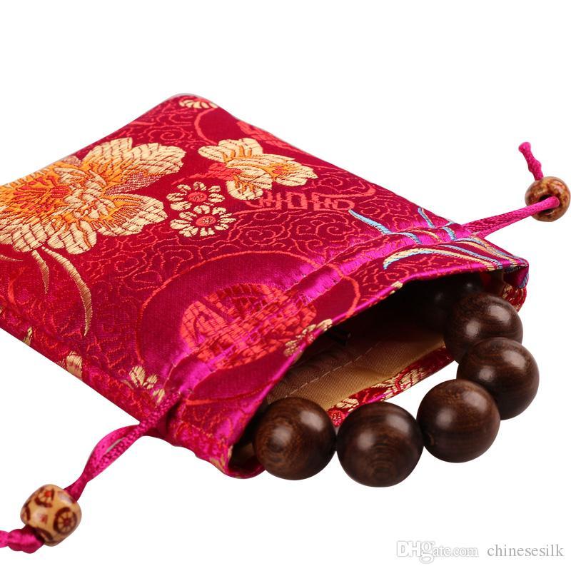 Épaissir Chrysanthème petits bijoux sac-cadeau brocart de soie Emballage Pochette Lavande Spice Sachets Outils de maquillage de parfum poche de rangement /