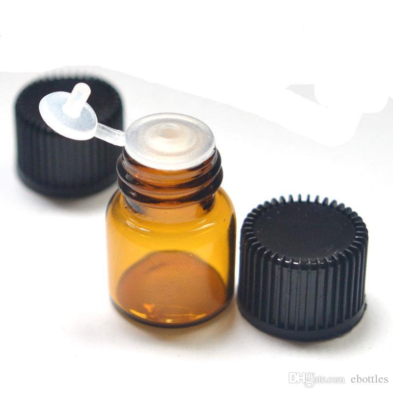1 мл небольшие стеклянные янтарные бутылки с тянуть отверстие Rducer винт Cap Mini 16 * 22 мм пустой ясно желая флаконы Бесплатная доставка