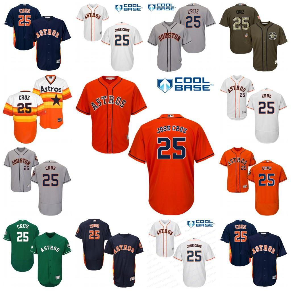 e60e662bb ... Cool Base Jersey 2017 2017 Mens Youth Houston Astros 25 Jose Cruz Jr.  Baseball Jerseys White Navy Orange ...