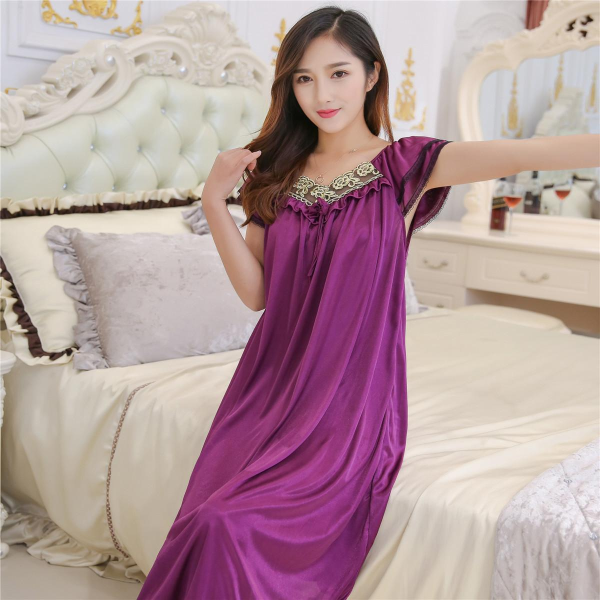 63e36f3e79 2019 Wholesale Lace Nightgowns Summer Ice Silk Nightgown Ms. MM Skirt Plus  Size Fat Thin Clothes Sexy Sleepwear From Dalivid