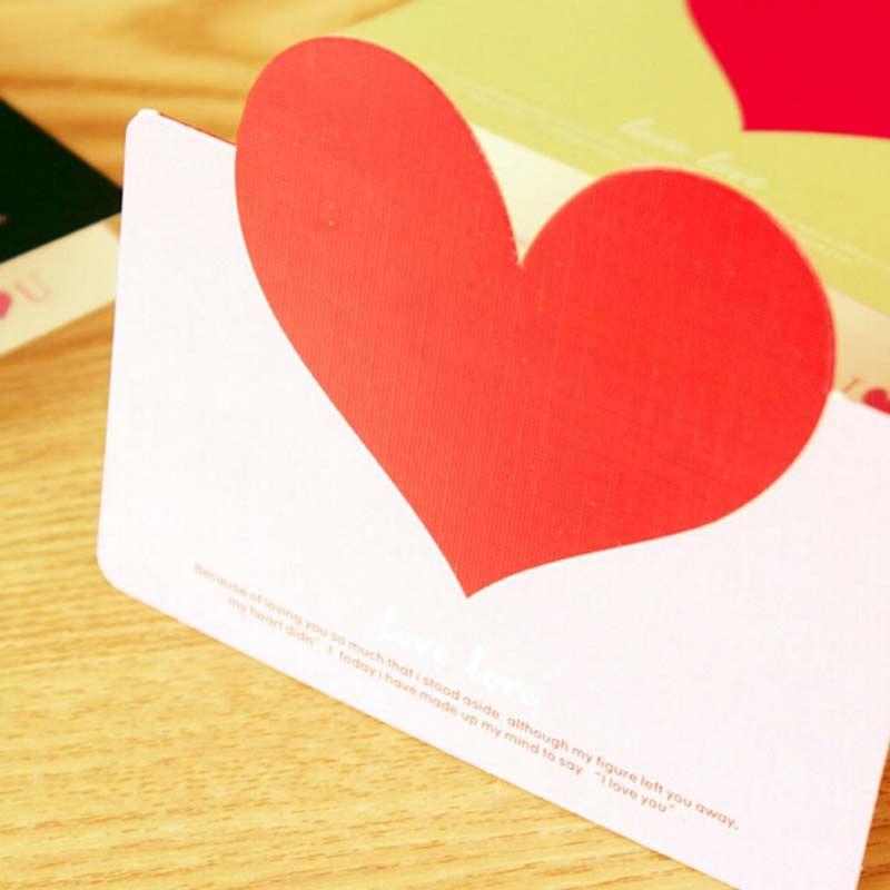 Kawaii 30 unids en forma de corazón tarjetas de felicitación de cumpleaños con sobres tarjetas bendiciones amor corazón boda tarjeta de felicitación suministros de escritura