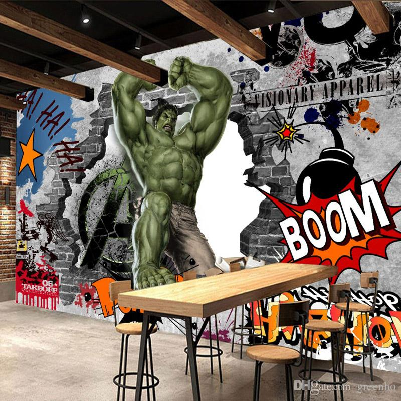 Vintage Graffiti Wall Mural Avengers Wallpaper Custom 3d Hulk Photo ...