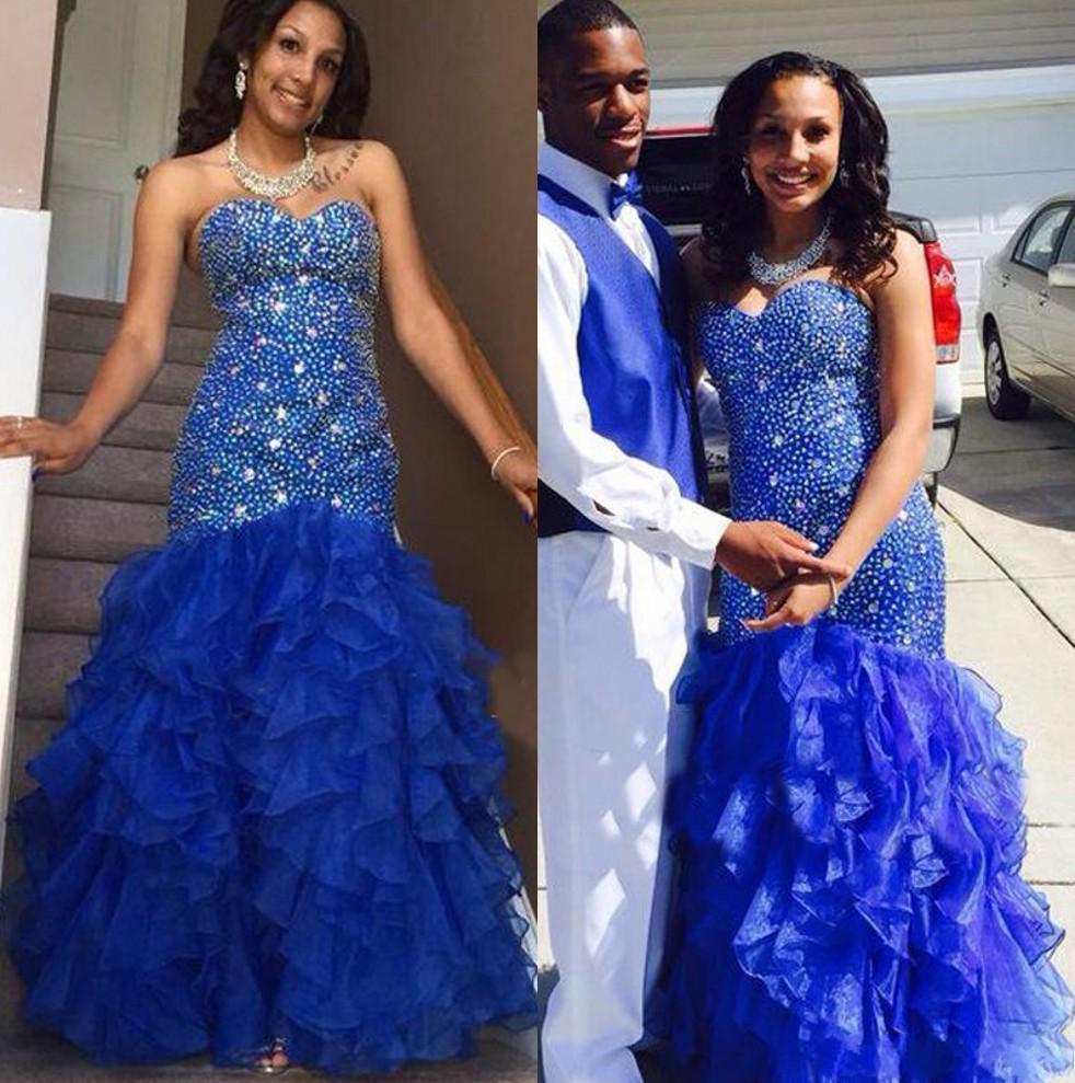 Sparking Crystal Beaded Prom Dresses 2016 Royal Blue cascading Ruffles indietro Lace Up organza Mermaid abiti da sera formale Black Girl wear