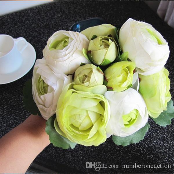 1 mazzo di 10 teste bouquet di fiori di seta artificiale di camelia a fiore rosa la decorazione di nozze o come bouquet da sposa