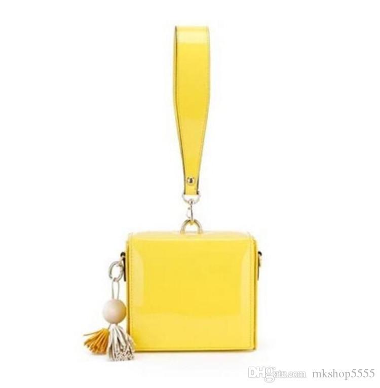 Portable Messenger Bag Square Tassels Small Bag Fashion Women Bag Patent Leather Handbag Apple